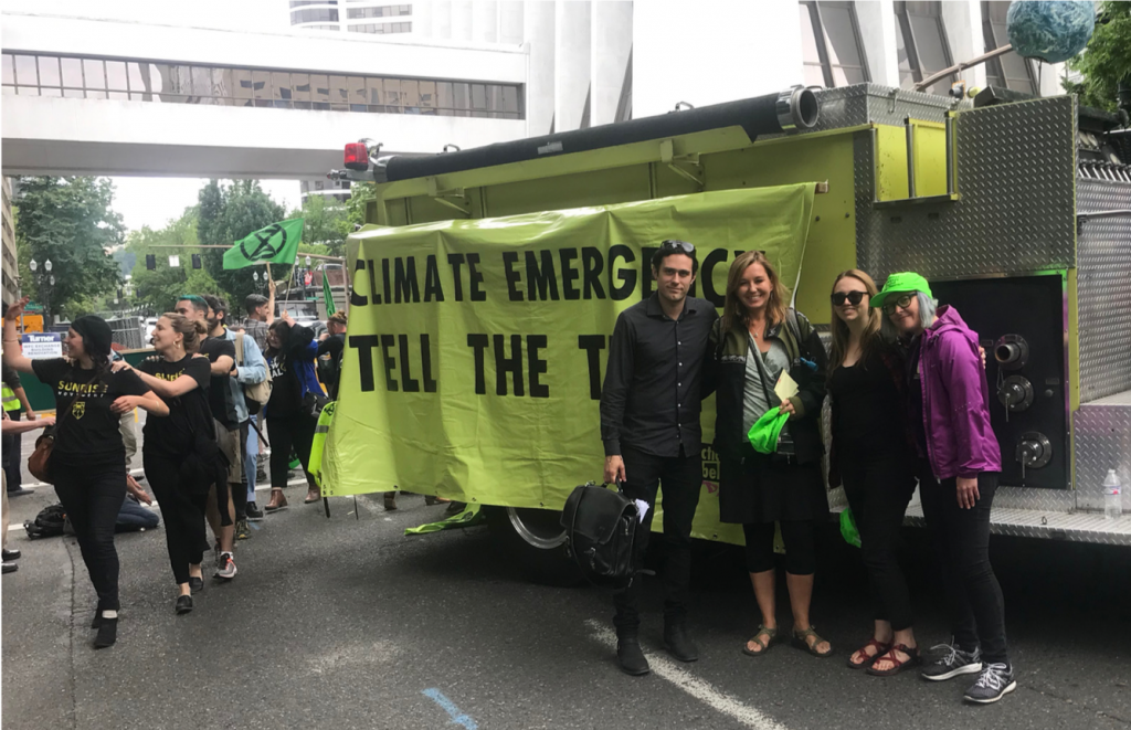 NLG Cascadia legal observers at an Extinction Rebellion protest