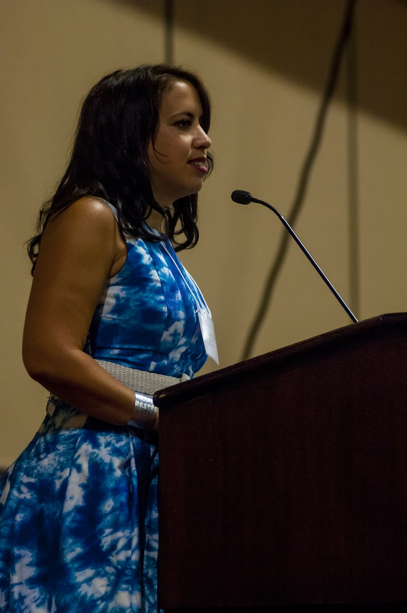 Natasha Lycia Ora Bannan delivers her first speech as NLG President at the 2015 Law for the People Convention in Oakland, CA (Photo: Curtis McGuire).