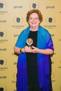 "Producer/director Abby Ginzberg holds her award for ""Soft Vengeance"" at the 74th Peabody Award at the Cipriani Wall Street in Manhattan on May 31, 2015. (Benjamin Chasteen/Epoch Times)"
