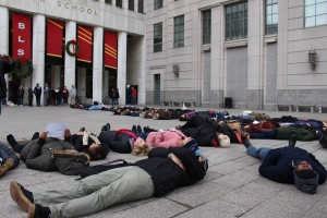 NLG students at Brooklyn Law School hold a Black Lives Matter die-in, December 2014. (Via facebook.com/nlgstudents