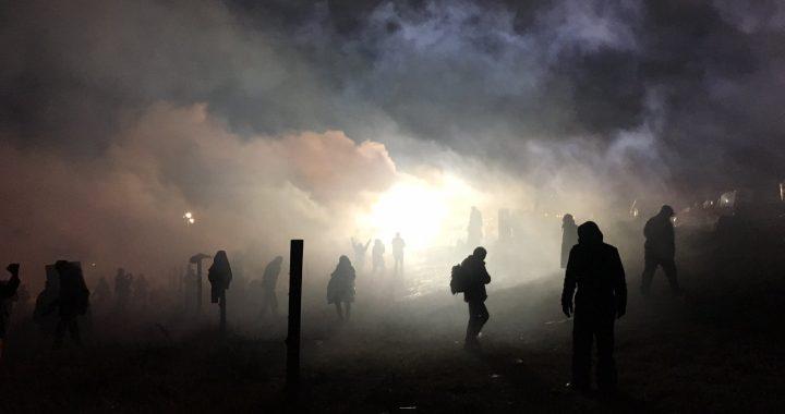 Police teargas Water Protectors during Highway 1806 standoff. (Photo: Elizabeth Hoover via Instagram @lizhoover.)