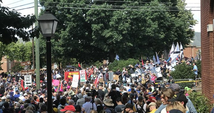 A large crowd of anti-racist protestors face off against white supremacists on a tree-lined street. Only the tops of most people's heads are visible. there are two neon hats in the crowd. They are National Lawyers Guild legal observers.