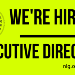 """Neon yellow background with the NLG logo and black text reading: """"We're Hiring! Executive Director"""""""