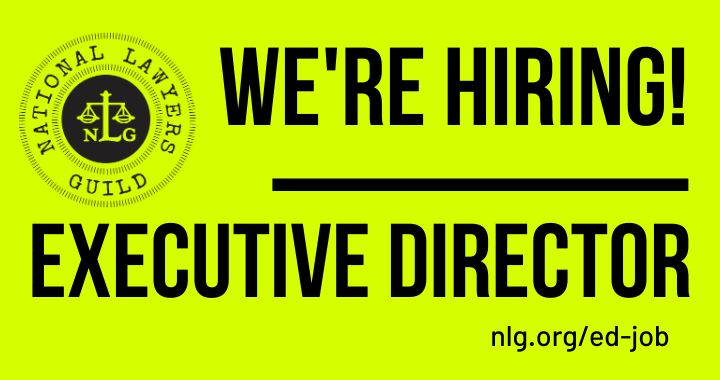 "Neon yellow background with the NLG logo and black text reading: ""We're Hiring! Executive Director"""